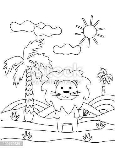 Cute coloring book with a funny lion, palm tree, sun. For the youngest children. Black sketch, simple shapes, silhouettes, contours, lines. Children's vector illustration.