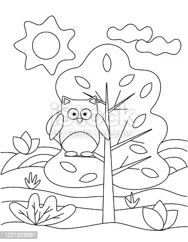 Cute coloring book with a funny owl on a tree, the sun. For the youngest children. Black sketch, simple shapes, silhouettes, contours, lines. Children's vector illustration.