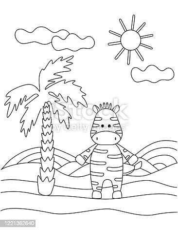Cute coloring book with a funny Zebra, palm tree, sun. For the youngest children. Black sketch, simple shapes, silhouettes, contours, lines. Childish vector illustration.