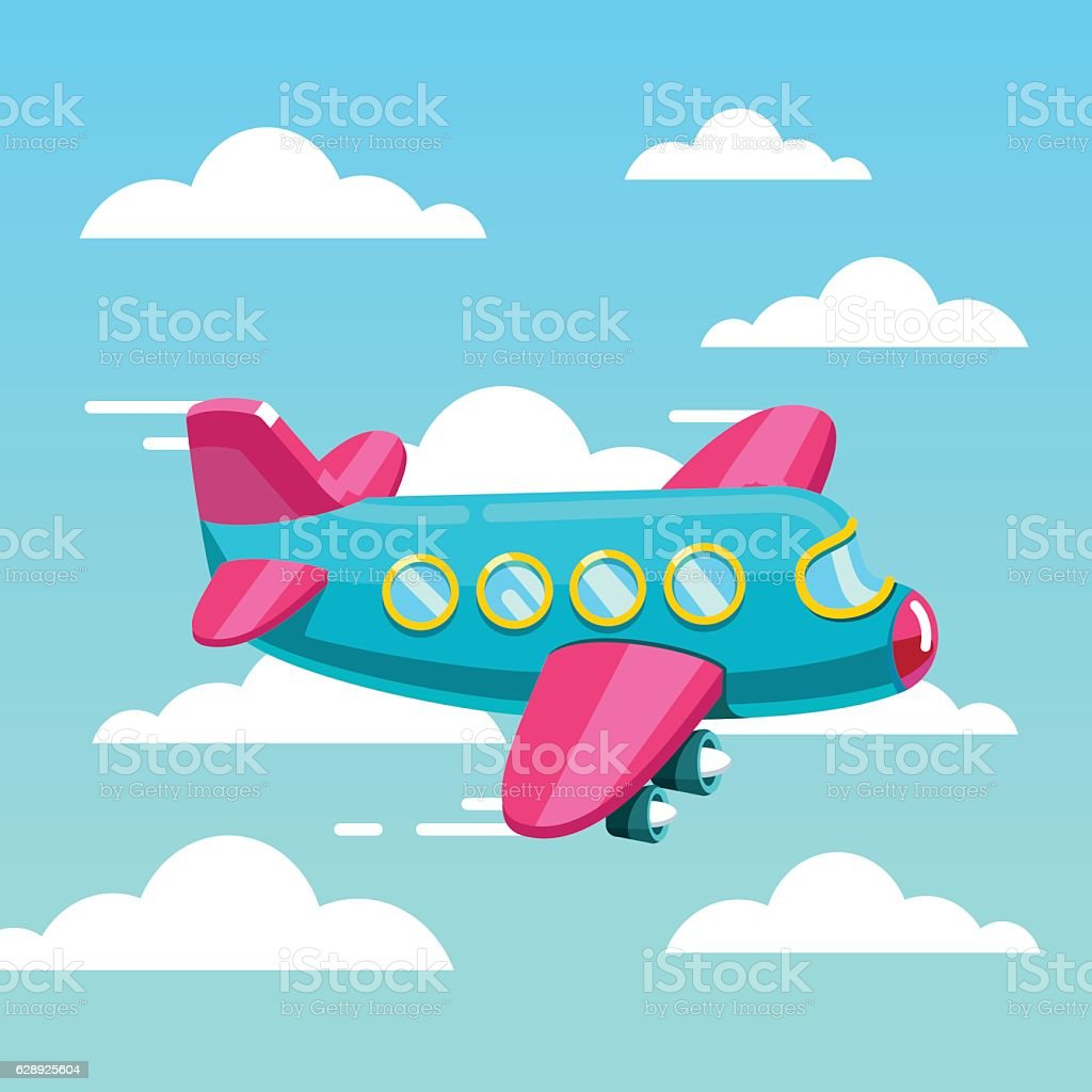cute comic air plane jet flying fast in the sky stock vector art