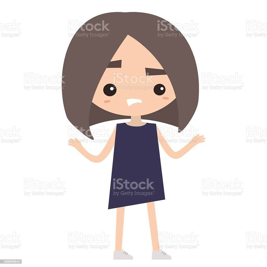 Cute Confused Girl Is Shrugging Her Shoulders Stock Vector