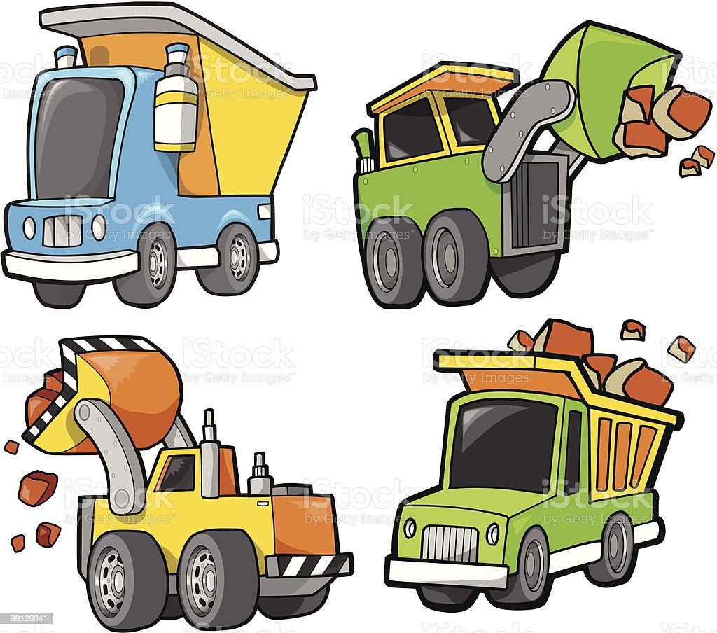 Cute Construction vehicle Set royalty-free cute construction vehicle set stock vector art & more images of color image
