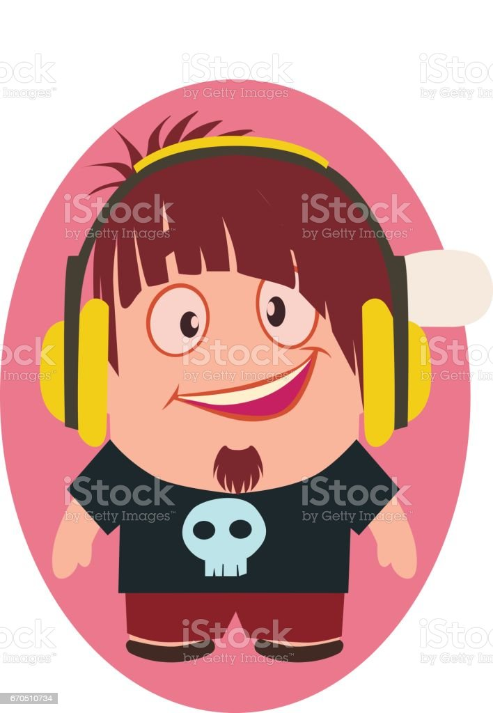Cute, Cool and Funny Smiling Geek Avatar of Little Person with Headphones Cartoon Character in Flat Vector vector art illustration