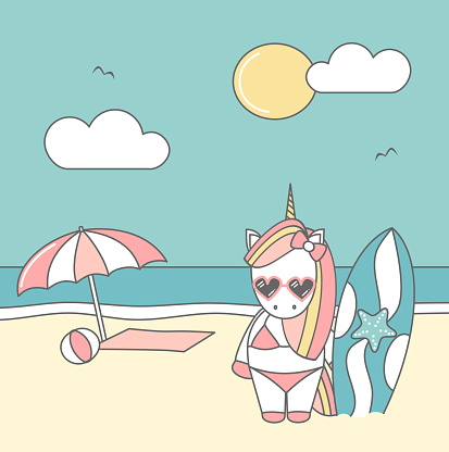 cute cool cartoon unicorn surfer on the beach funny summer vector illustration