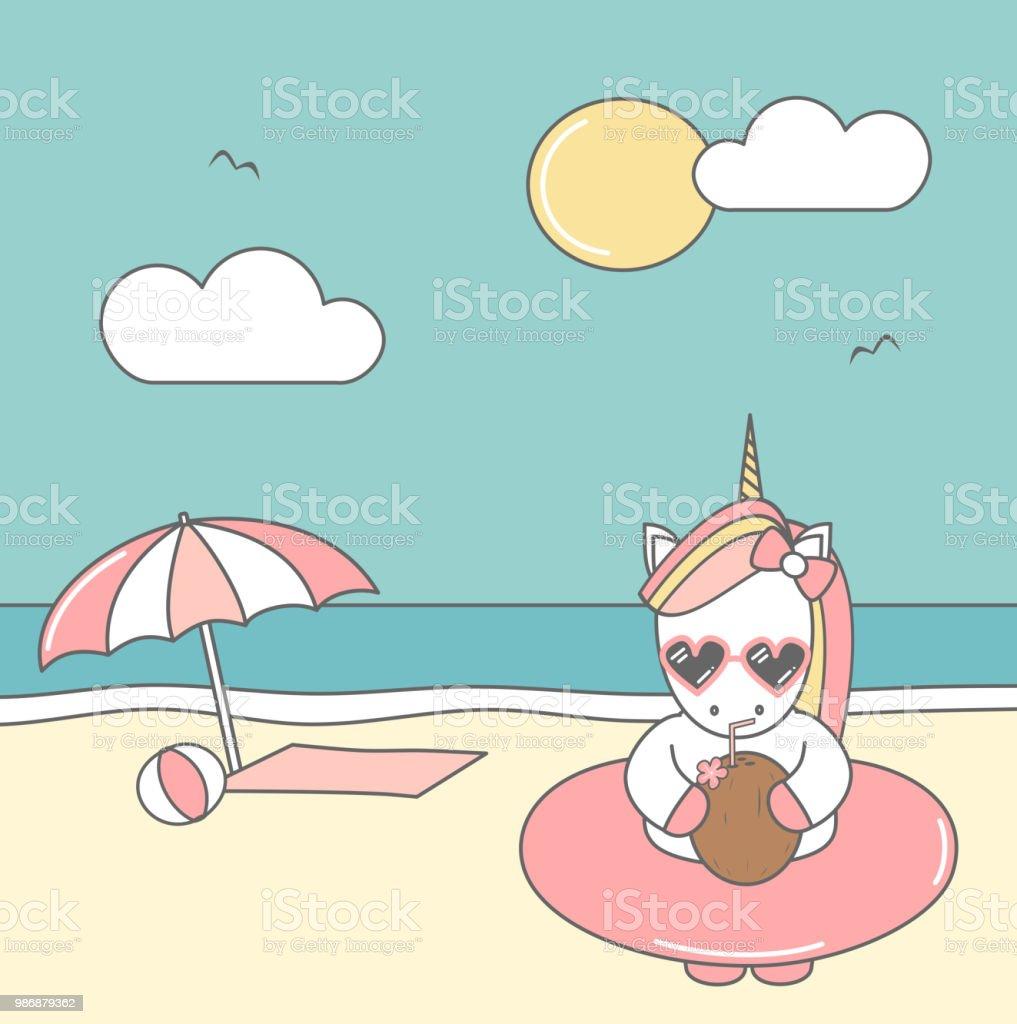 Niedlichen Coole Cartoon Einhorn Mit Sonnenbrille Schwimmer Und