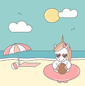 cute cool cartoon unicorn with sunglasses, float and coconut juice on the beach funny summer vector illustration