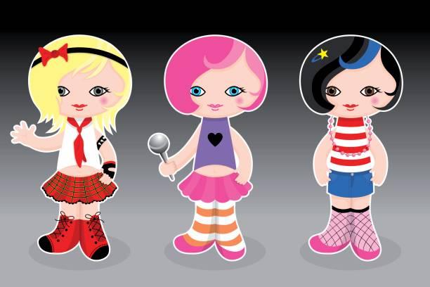 Cute cool girls vector art illustration
