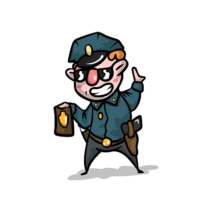 Cute cool policeman in uniform and cap show his police badge