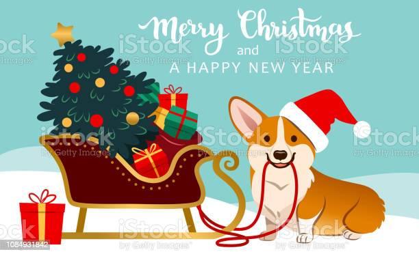 Cute corgi dog in santa hat ready to pull sleigh with decorated tree vector id1084931842?b=1&k=6&m=1084931842&s=612x612&h=szvs7eai7s 1z4iae 7v3u67ghhml0tezzvfwe1kru4=