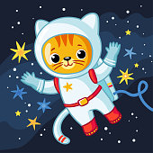 Cute cosmonaut cat in a spacesuit flies in outer space. Vector illustration on the space theme in cartoon style.