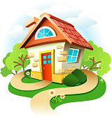 Vector illustration of a cute little cottage. High resolution jpg file included.