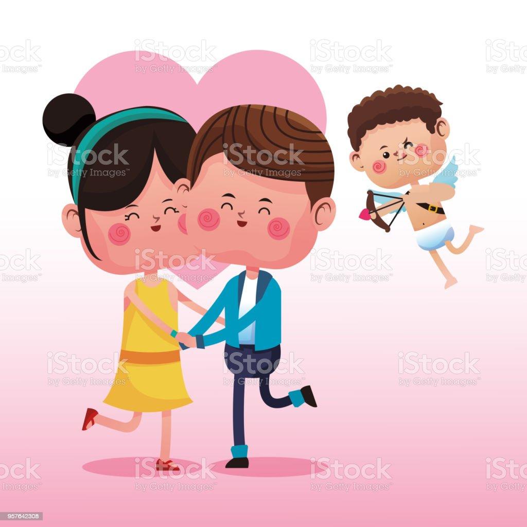 Dessin Anime Mignon Couple Avec Cupidon Cliparts Vectoriels Et