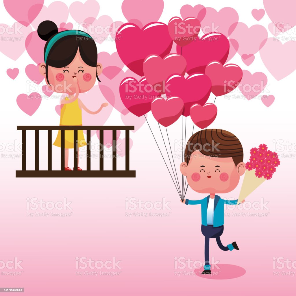 Cute Couple In Love Cartoons Stock Illustration Download Image