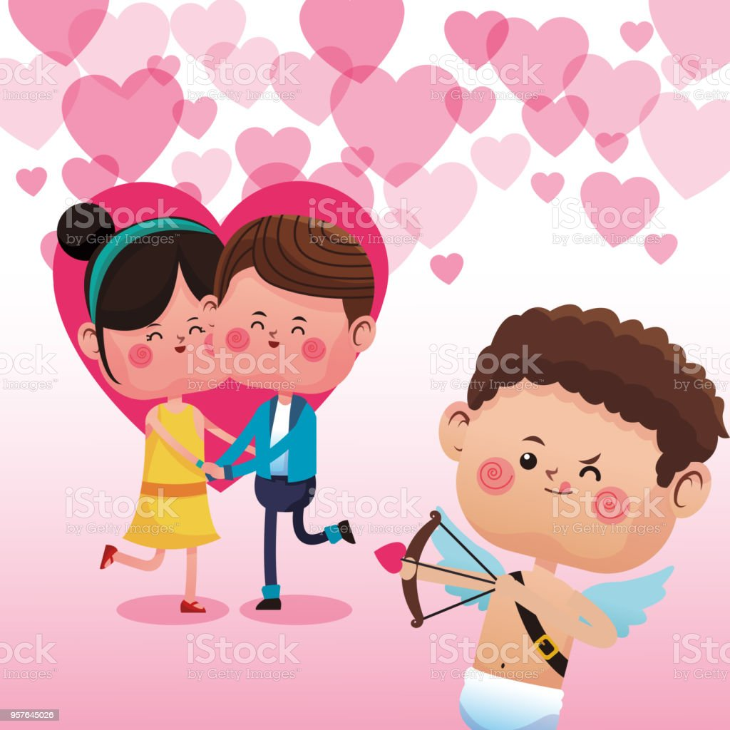 Cute Couple In Love Cartoons Stock Vector Art More Images Of Art