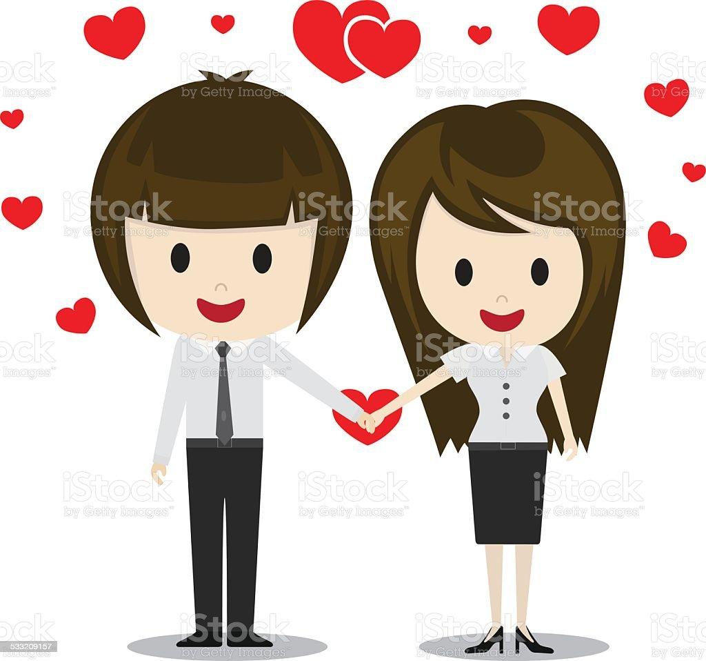 ilustração de lindo casal apaixonado de mãos dadas personagens de