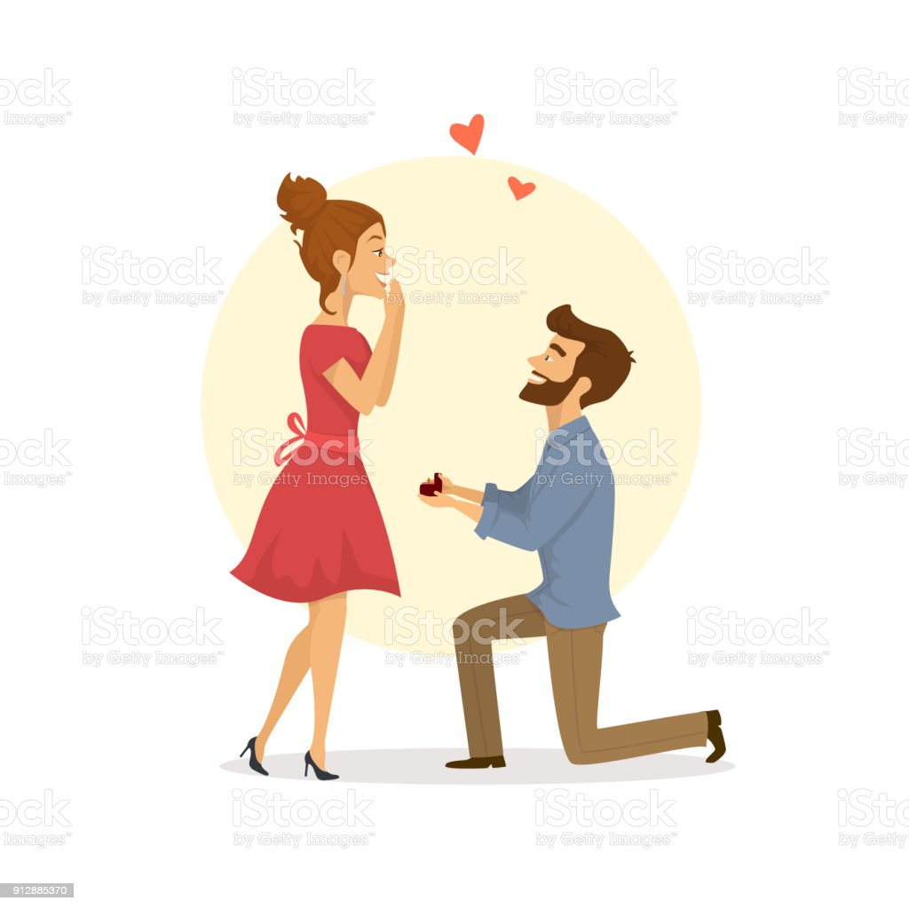 愛、ベクトル図を折り敷き女性に提案している男でお似合いのカップル ベクターアートイラスト