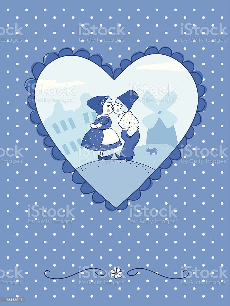 Cute couple kissing (Delft blue-style). royalty-free cute couple kissing stock vector art & more images of anniversary card