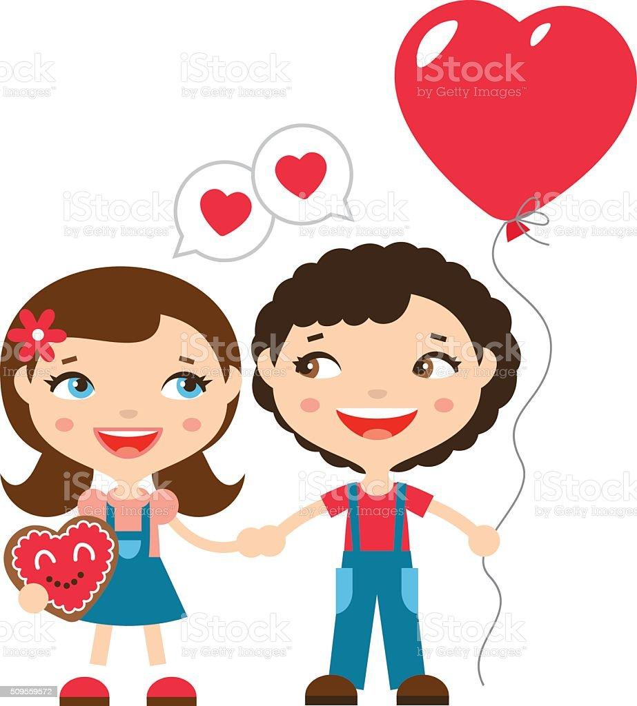 かわいいカップルバレンタインデー - お祝いのベクターアート素材や画像