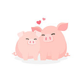 Cute couple pig hugging embracing happily, Dating relationship concept, Cartoon vector illustration.
