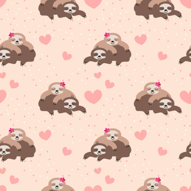 Cute couple sloth seamless pattern. Cute couple sloth seamless pattern. Cute animal in Valentine concept. baby sloth stock illustrations