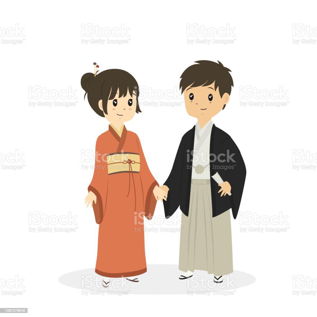 日本の伝統的な衣装のベクトルを着てかわいいカップル うちわの