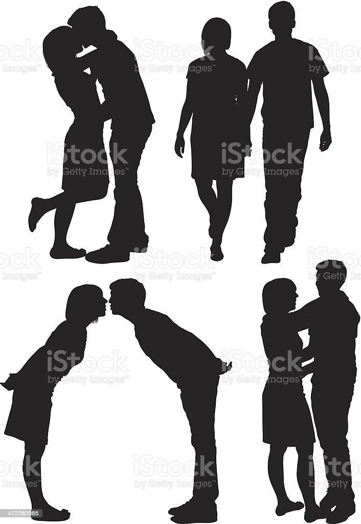Süße junge Liebe Paare – Vektorgrafik