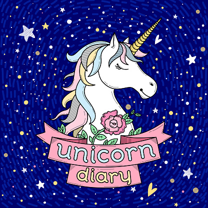 Cute cover or card with unicorn