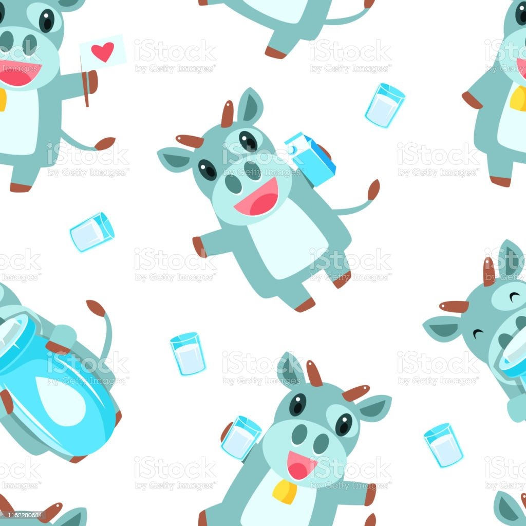 Cute Cow and Milk Products Seamless Pattern, Design Element Can Be...