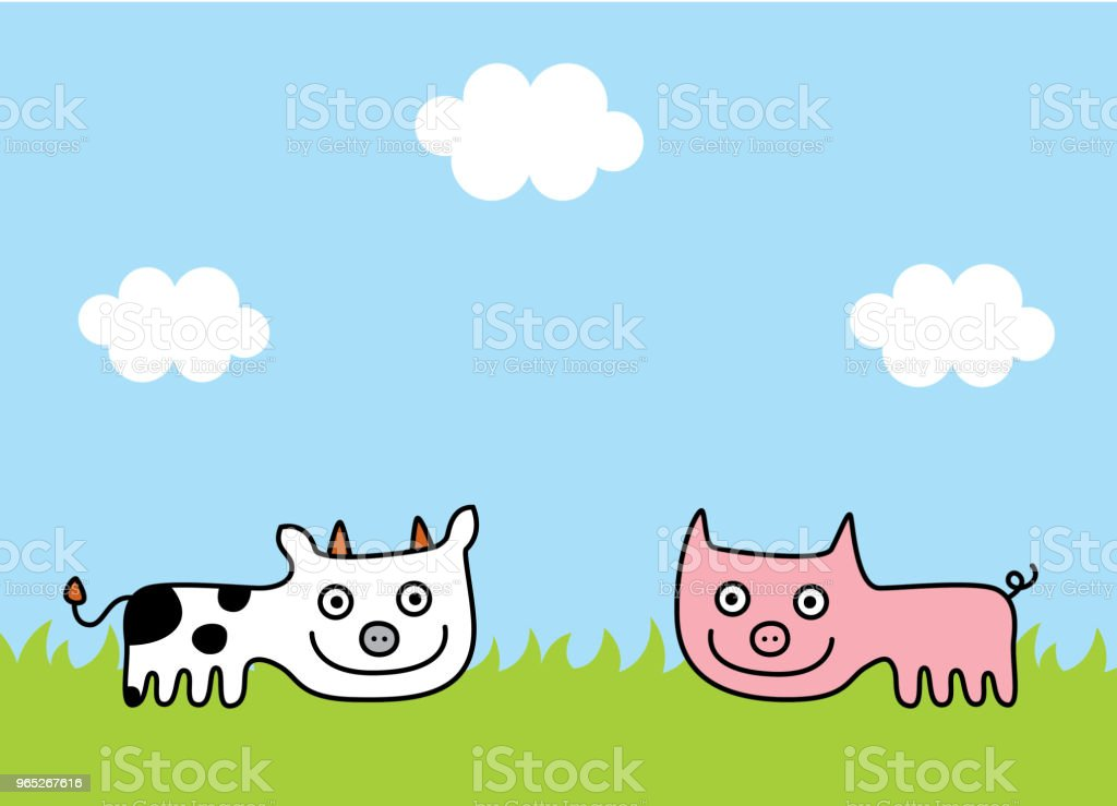 cute cow and pig spring picture vector royalty-free cute cow and pig spring picture vector stock vector art & more images of animal