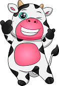 vector illustration of cute cow cartoon thumb up on white background