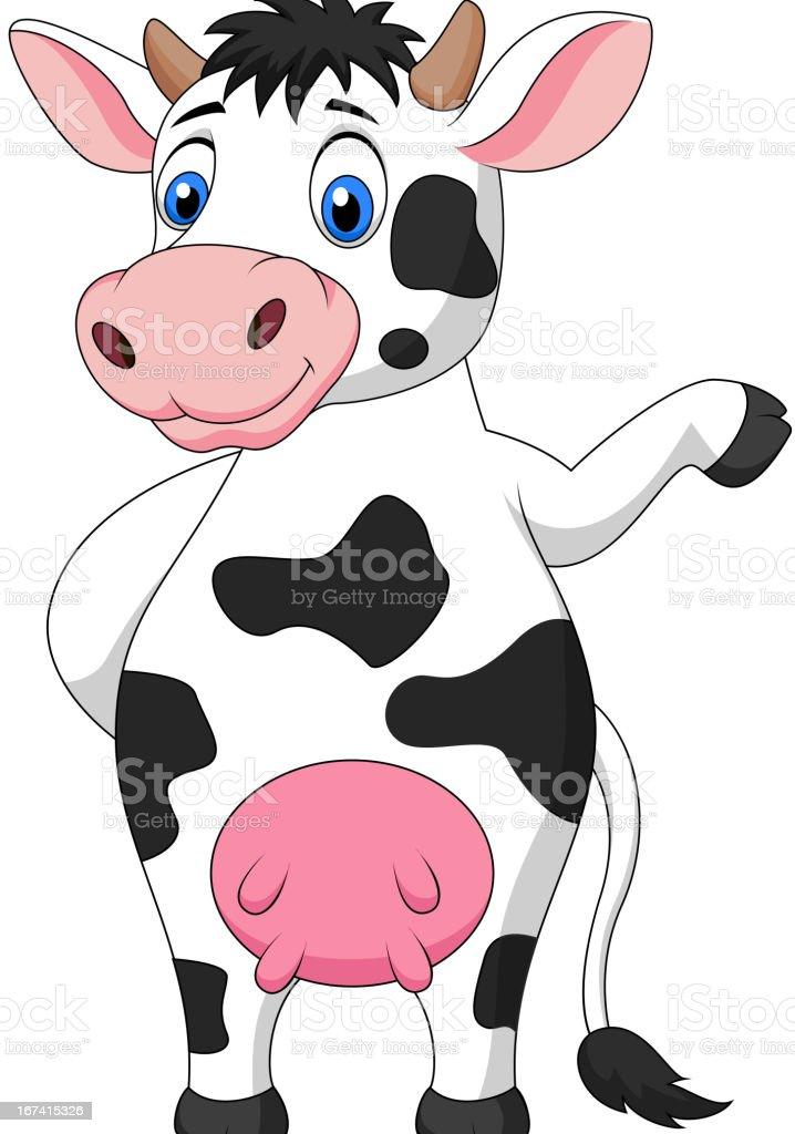 Cute cow cartoon waving hand royalty-free stock vector art