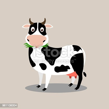 Cute cow character cartoon eat grass - Vector illustration