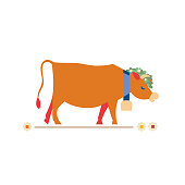 Cute cow flat hand drawn vector color character