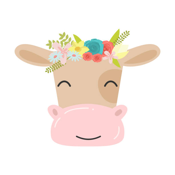 Cute cow in a wreath of flowers. Raster illustration in flat cartoon style. Cute cow with floral wreath. Funny face. Illustration for children print design, kids t-shirt, babywear, etc. Isolated raster icon illustration on white background in cartoon style. diademe stock illustrations