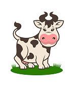 istock Cute cow mascot on grass - cartoon character 1021275648