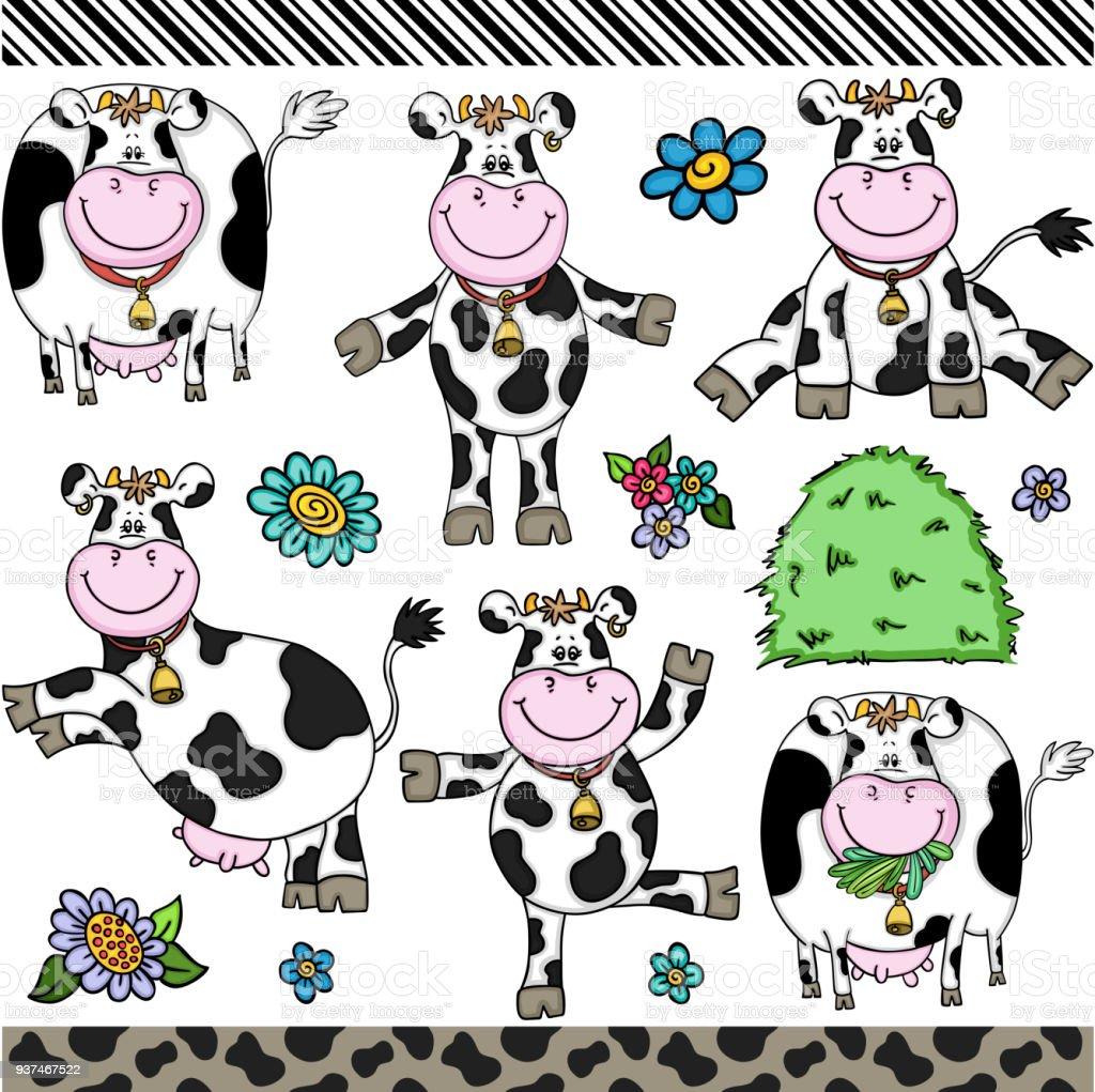Vaca bonita definir elementos digitais - ilustração de arte em vetor