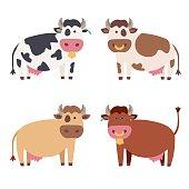 Cute Cow Set. Vector