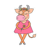 Cute cow with closed eyes in pink dress. Vector illustration for Valentine's Day, baby announcement, Mother's Day,wedding design, scrapbook, textiles.