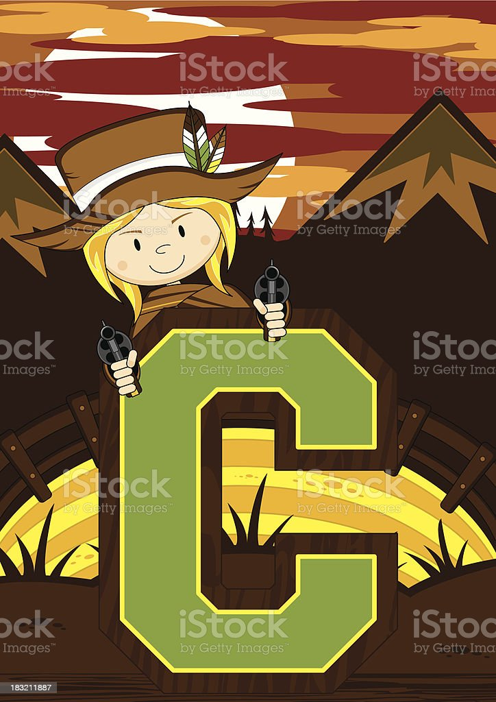 Cute Cowboy Learning Letter C royalty-free stock vector art