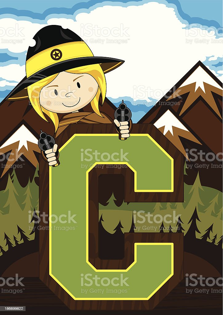 Cute Cowboy Learning Letter C royalty-free cute cowboy learning letter c stock vector art & more images of adult