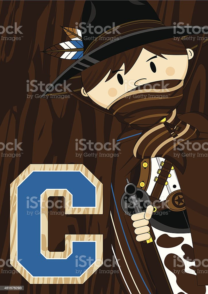 Cute Cowboy Learning Letter C royalty-free cute cowboy learning letter c stock vector art & more images of aiming