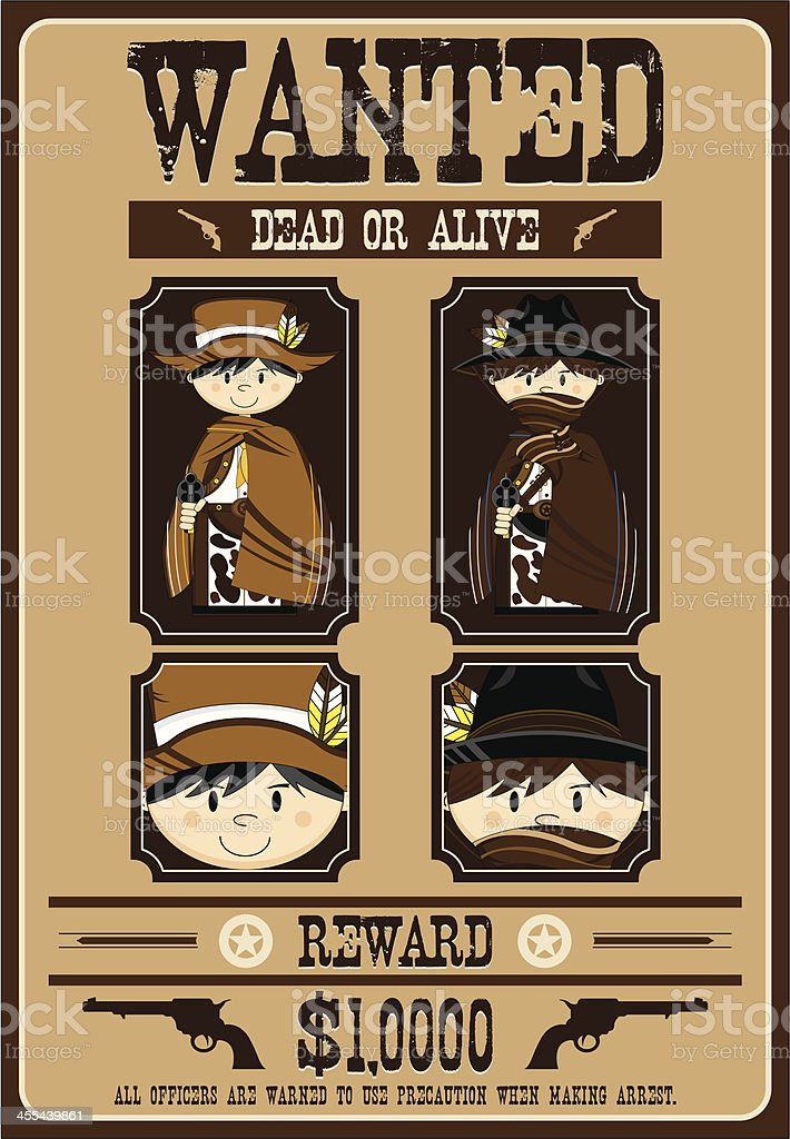 Cute Cowboy Outlaws Wanted Poster royalty-free cute cowboy outlaws wanted poster stock vector art & more images of aiming