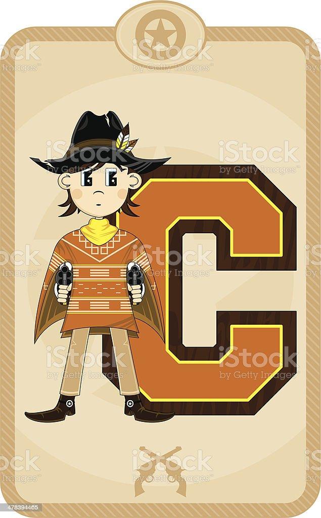 Cute Cowboy Sheriff Learning Letter C vector art illustration