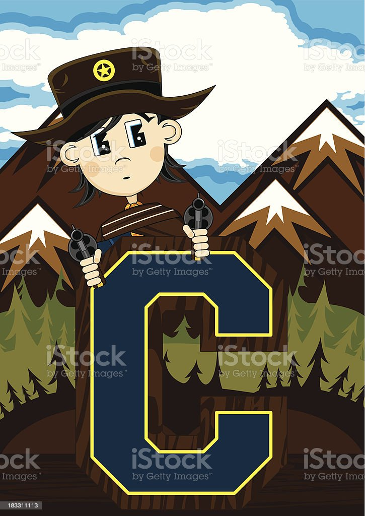Cute Cowboy Sheriff Letter C royalty-free cute cowboy sheriff letter c stock vector art & more images of aiming