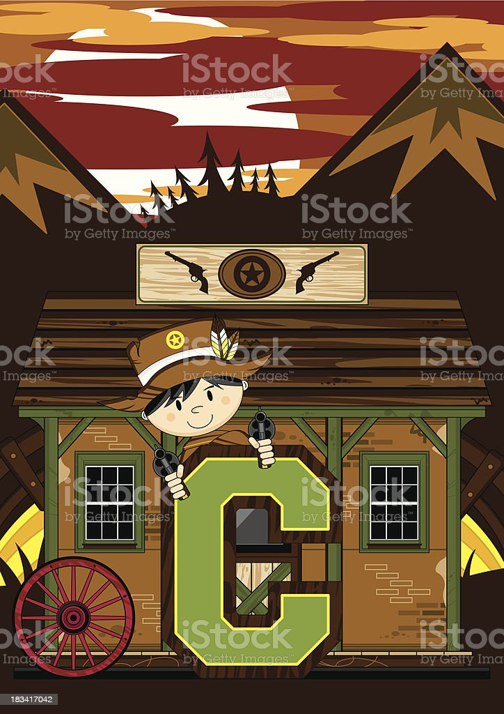 Cute Cowboy Sheriff Letter C royalty-free stock vector art