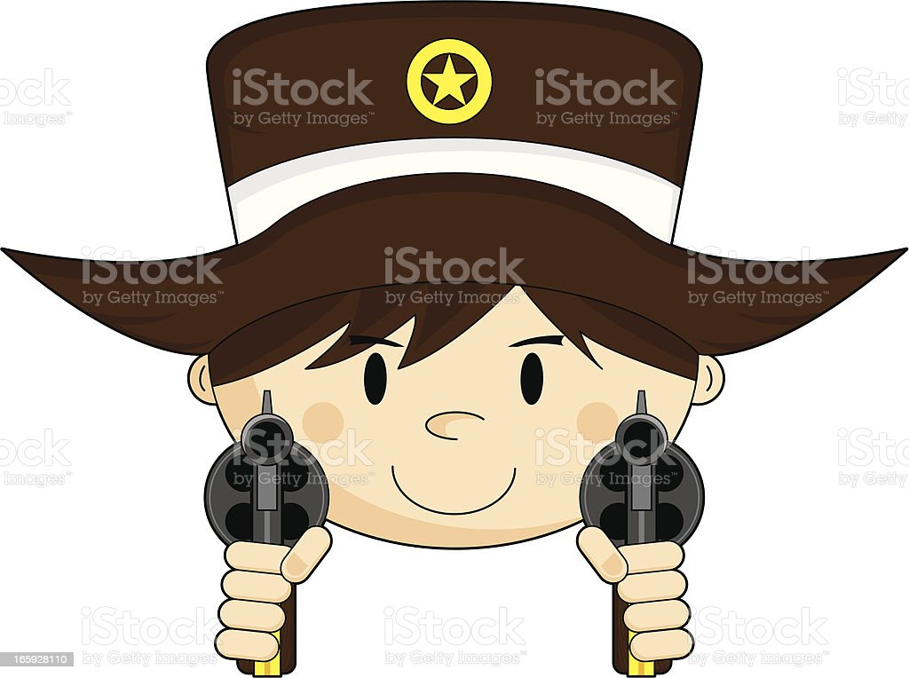 Cute Cowboy Sheriff with Pistols royalty-free stock vector art