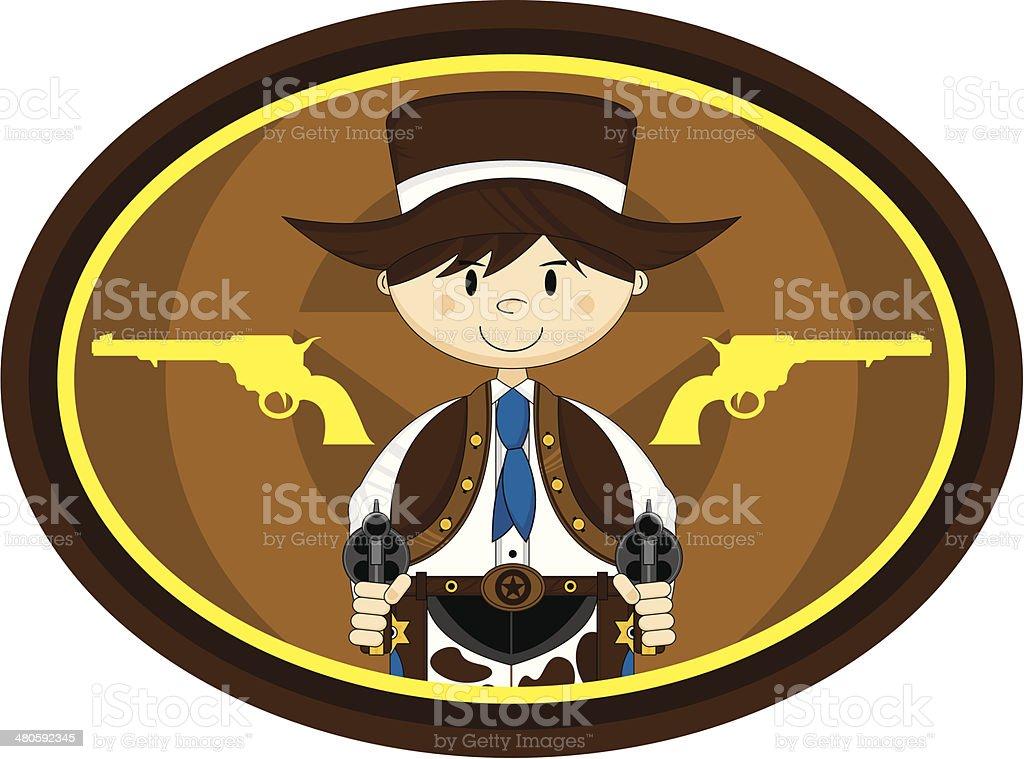 Cute Cowboy with Guns vector art illustration