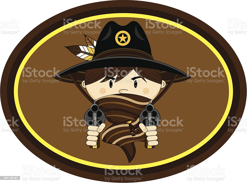 Cute Cowboy with Pistols vector art illustration