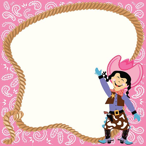 süße cowgirl geburtstag party-einladung - kinderstiefel stock-grafiken, -clipart, -cartoons und -symbole