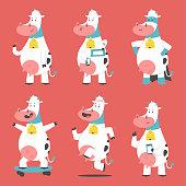 Cow vector cartoon characters set.